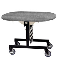 Geneva 74405SPB Mobile Oval Top Tri-Fold Room Service Table with Pewter Brush Finish - 36 inch x 43 inch x 31 inch