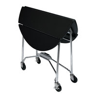 Lakeside 415B Mobile Round Top Fold-Up Room Service Table with Black Finish - 22 1/4 inch x 40 inch x 30 inch