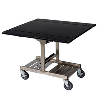 Geneva 74410SB Mobile Rectangular Top Tri-Fold Room Service Table with Stainless Steel Frame and Black Finish - 36 inch x 43 inch x 31 inch