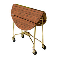 Lakeside 415BL Mobile Round Top Fold-Up Room Service Table with Victorian Cherry Finish - 22 1/4 inch x 40 inch x 30 inch