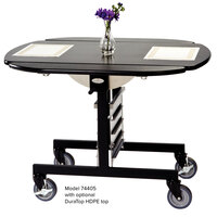 Geneva 74405PB Mobile Round Top Tri-Fold Room Service Table with Pewter Brush Finish - 36 inch x 43 inch x 31 inch