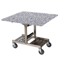 Geneva 74410SGS Mobile Rectangular Top Tri-Fold Room Service Table with Stainless Steel Frame and Gray Sand Finish - 36 inch x 43 inch x 31 inch