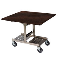 Geneva 74410SW Mobile Rectangular Top Tri-Fold Room Service Table with Stainless Steel Frame and Mahogany Finish - 36 inch x 43 inch x 31 inch