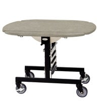 Geneva 74405SBS Mobile Oval Top Tri-Fold Room Service Table with Beige Suede Finish - 36 inch x 43 inch x 31 inch