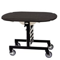 Geneva 74405EW Mobile Round Top Tri-Fold Room Service Table with Ebony Wood Finish - 36 inch x 43 inch x 31 inch