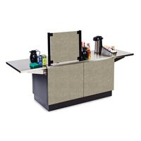 Lakeside 6120BS Mobile Stainless Steel Coffee Kiosk with Beige Suede Laminate Finish - 96 1/4 inch x 30 inch x 56 inch