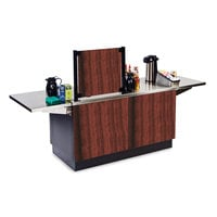 Lakeside 6120RM Mobile Stainless Steel Coffee Kiosk with Red Maple Laminate Finish - 96 1/4 inch x 30 inch x 56 inch
