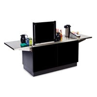 Lakeside 6120B Mobile Stainless Steel Coffee Kiosk with Black Laminate Finish - 96 1/4 inch x 30 inch x 56 inch