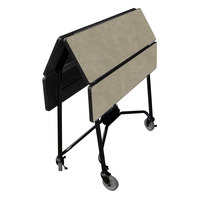 Lakeside 416BS Mobile Square Top Fold-Up Room Service Table with Beige Suede Finish - 22 1/4 inch x 36 inch x 30 inch