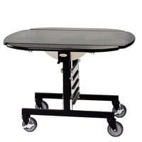 Geneva 74405B Mobile Round Top Tri-Fold Room Service Table with Black Finish - 36 inch x 43 inch x 31 inch