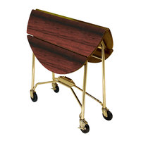 Lakeside 415RM Mobile Round Top Fold-Up Room Service Table with Red Maple Finish - 22 1/4 inch x 40 inch x 30 inch