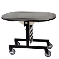 Geneva 74405SB Mobile Oval Top Tri-Fold Room Service Table with Black Finish - 36 inch x 43 inch x 31 inch