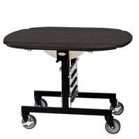 Geneva 74405SEW Mobile Oval Top Tri-Fold Room Service Table with Ebony Wood Finish - 36 inch x 43 inch x 31 inch