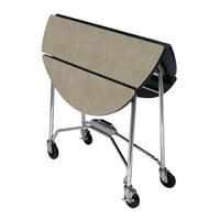 Lakeside 415BS Mobile Round Top Fold-Up Room Service Table with Beige Suede Finish - 22 1/4 inch x 40 inch x 30 inch