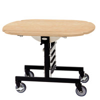 Geneva 74405 Mobile Oval Top Tri-Fold Room Service Table with Maple Finish - 36 inch x 43 inch x 31 inch