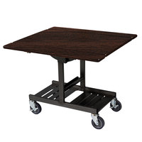 Geneva 74410W Mobile Rectangular Top Tri-Fold Room Service Table with Mahogany Finish - 36 inch x 43 inch x 31 inch