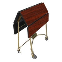 Lakeside 416RM Mobile Square Top Fold-Up Room Service Table with Red Maple Finish - 22 1/4 inch x 36 inch x 30 inch