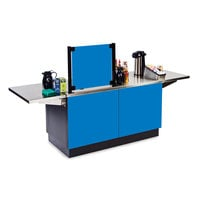 Lakeside 6120BL Mobile Stainless Steel Coffee Kiosk with Royal Blue Laminate Finish - 96 1/4 inch x 30 inch x 56 inch