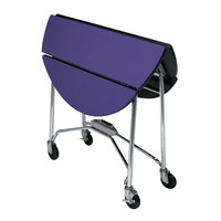 Lakeside 415P Mobile Round Top Fold-Up Room Service Table with Purple Finish - 22 1/4 inch x 40 inch x 30 inch