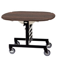 Geneva 74405W Mobile Round Top Tri-Fold Room Service Table with Mahogany Finish - 36 inch x 43 inch x 31 inch