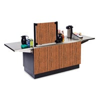 Lakeside 6120VC Mobile Stainless Steel Coffee Kiosk with Victorian Cherry Laminate Finish - 96 1/4 inch x 30 inch x 56 inch