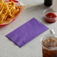 Choice 15 inch x 17 inch Customizable Purple 2-Ply Paper Dinner Napkin - 125/Pack
