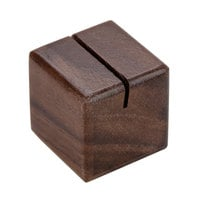 American Metalcraft SWCH 1 1/8 inch x 1 1/8 inch Square Walnut Wood Card Holder