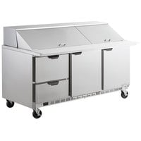 Beverage-Air SPED72HC-30M-2 72 inch 2 Door 2 Drawer Mega Top Refrigerated Sandwich Prep Table