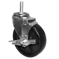 All Points 26-3269 5 inch Swivel Threaded Stem Caster with Brake - 1/2 inch-13 x 1 1/2 inch Stem, 260 lb. Capacity