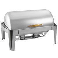 Choice Supreme 8 Qt. Full Size Gold Accent Roll Top Chafer
