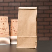 1 lb. Brown Kraft Paper Coffee Bag with Reclosable Tin Tie - 100/Pack