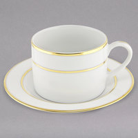 10 Strawberry Street GLD0009 6 oz. Double Line Gold Porcelain Can Cup with Saucer - 24/Case