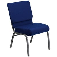 "Flash Furniture FD-CH0221-4-SV-NB24-GG Navy Blue 21"" Extra Wide Church Chair with Silver Vein Frame"