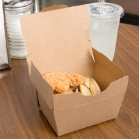 Customizable Microwavable Paper #1 Take Out Box 4 3/8 inch x 3 1/2 inch x 2 1/2 inch - 450/Case