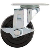 Avantco 17816412 4 inch Swivel Plate Caster with Brake