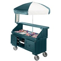 Cambro CVC72192 Camcruiser Granite Green Vending Cart with Umbrella and 3 Counter Wells