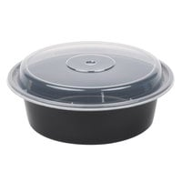 Pactiv Newspring NC729B 32 oz. Black 7 inch VERSAtainer Round Microwavable Container with Lid - 150/Case