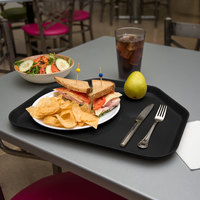 Carlisle 1713FG004 Customizable 14 inch x 18 inch Glasteel Black Trapezoid Fiberglass Tray   - 12/Case