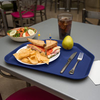 Carlisle 1713FG050 Customizable 14 inch x 18 inch Glasteel Sapphire Blue Trapezoid Fiberglass Tray - 12/Case