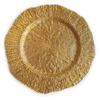 The Jay Companies 1470336 13 inch Round Infinity Gold Glass Charger Plate