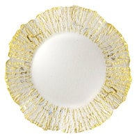The Jay Companies 1470334 13 inch Round Deniz Flower Gold Glass Charger Plate