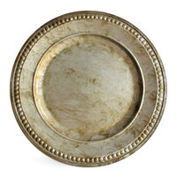 The Jay Companies 1320376 14 inch Round Beaded Silver Acrylic Charger Plate