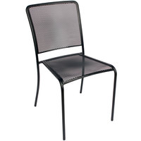 BFM Seating SU1300CBL Chesapeake Outdoor / Indoor Stackable Black E-Coated Steel Side Chair