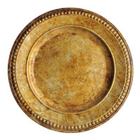 The Jay Companies 1320375 14 inch Round Beaded Gold Acrylic Charger Plate