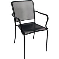 BFM Seating SU1301CBL Chesapeake Outdoor / Indoor Stackable Black E-Coated Steel Arm Chair