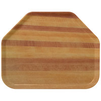 Carlisle 1713WFG094 Customizable 14 inch x 18 inch Glasteel Wood Grain Redwood Trapezoid Fiberglass Tray - 12/Case