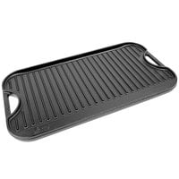 Lodge LPG13 20 inch x 10 1/2 inch Pre-Seasoned Reversible Cast Iron Griddle and Grill Pan with Handles