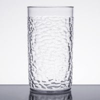 16 oz. Clear SAN Plastic Hammered Tumbler - 12/Pack