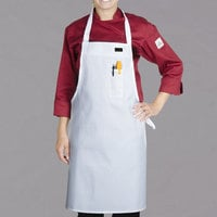 Chef Revival Delux White Poly-Cotton Customizable Bib Apron with 1 Pocket - 34 inchL x 34 inchW