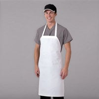 Chef Revival White Polyester Customizable Bib Apron - 32 inchL x 27 inchW